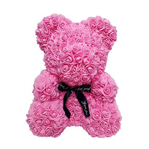 LIOOBO Rose Ourson Ours Artificielle Toujours Cadeau Anniversaire Anniversaire Cadeau Saint Valentin - (25cm) (Rose)