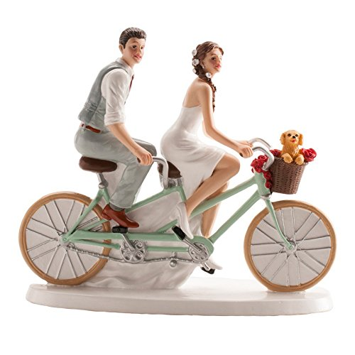 Wedding Cake Topper Couple on Bicycle 6x7''