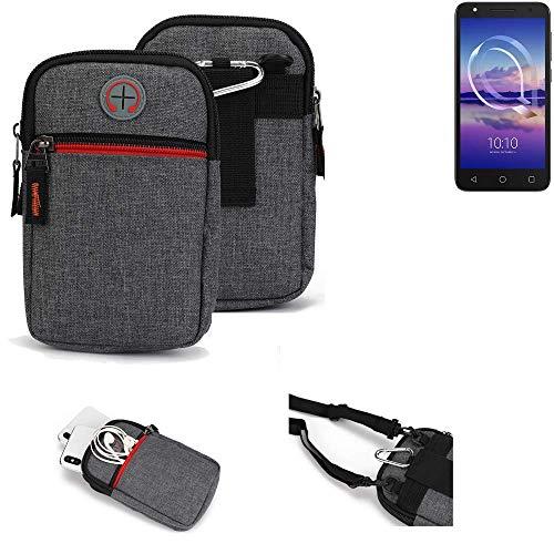 K-S-Trade® Gürtel-Tasche Für Alcatel U5 HD Single SIM Handy-Tasche Schutz-hülle Grau Zusatzfächer 1x