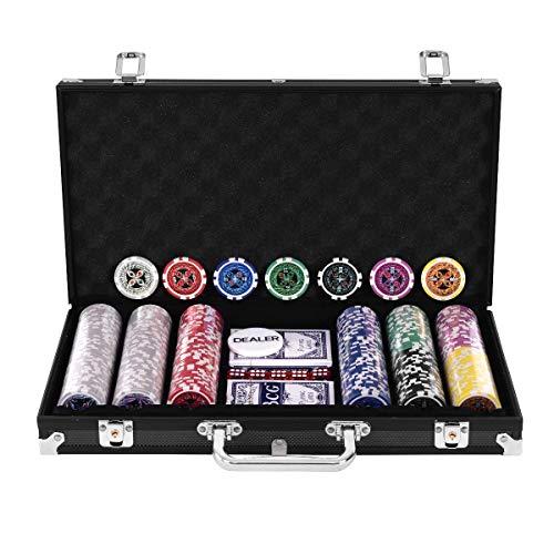 DREAMADE Set da Poker 300 Chips con Custodia in Alluminio con 1 Pulsante Dealer 5 Dadi 2 Mazzi di Carte (Nero)