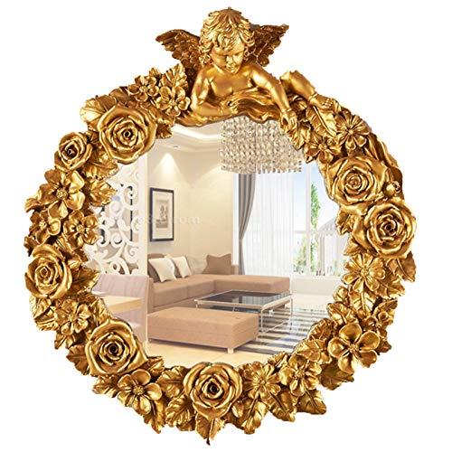 Badspiege Runde Vintage Golden Badezimmer Wandspiegel 50cm, Europäischer Jahrgang Engel Statue Dekorative Wand Schminkspiegel Retro Barock Spiegel Ohne Beleuchtung gold