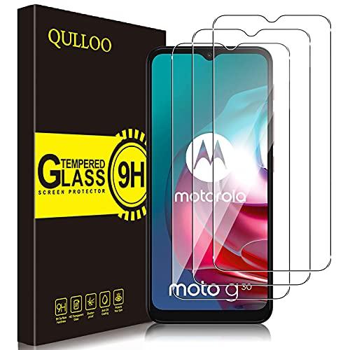 QULLOO Protector de Pantalla para Motorola Moto G9 Play/Moto G10 / Moto G30, Cristal Templado [9H Dureza] [Anti-Huella] para Moto G9 Play/Moto G10 / Moto G30-3 Piezas