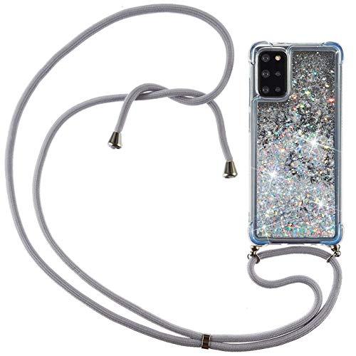 Vepbk Handykette Hülle für Samsung Galaxy S20 Plus [nicht für S20] Case, Handyhülle Glitzer Flüssig Silikon Weich Hülle mit Band Kordel Transparent Cover mit Umhängeband für Galaxy S20 Plus,Silber