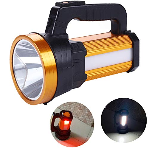Rechargeable Handheld LED Spotlight Portable Flashlight 6000 Lumen Super Bright High Powered Searchlight Large Lithium Battery Camping Torch Lantern Work Light Long Lasting USB Power Bank Phone Charge