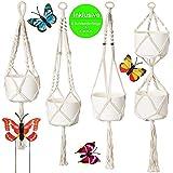 Migarda Makramee Blumenampel | 4er Set + 4 Schmetterlinge | - Wand Deko Pflanzen Halter für Decken,...