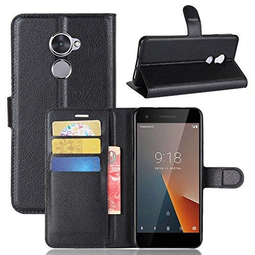 Guran? Funda de Cuero PU para Vodafone Smart V8 Smartphone Función de Soporte con Ranura para Tarjetas Flip Case Cover Caso-Negro…