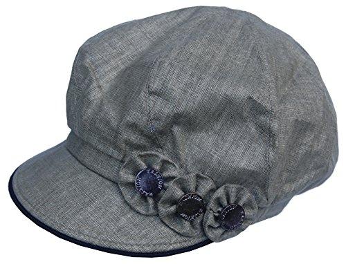 Cool4 XXL Leinen Ballonmütze Blumen Applikation Bakerboy Mütze Chemo Cap Vintage A08 (Oliv Grün, M/L)