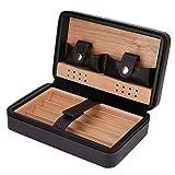 Portable cèdre Bois boîte à cigares cèdre Espagnol boîte de Stockage de cigares Voyage en Plein air Humidor Cas Zipper Design Voyage Business Cadeau Parfait pour Amateurs de cigares(#01)