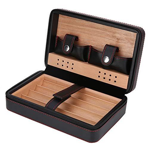 Garosa Tragbare Zedernholz-Zigarrenschachtel Zigarrenschachtel aus spanischer Zeder Aufbewahrungsbox Reisehumidor im Freien Reißverschluss-Etui für Reiseveranstalter(#01)