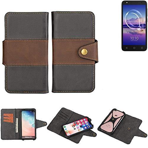 K-S-Trade® Handy-Hülle Schutz-Hülle Bookstyle Wallet-Case Für -Alcatel U5 HD Single SIM- Bumper R&umschutz Schwarz-braun 1x