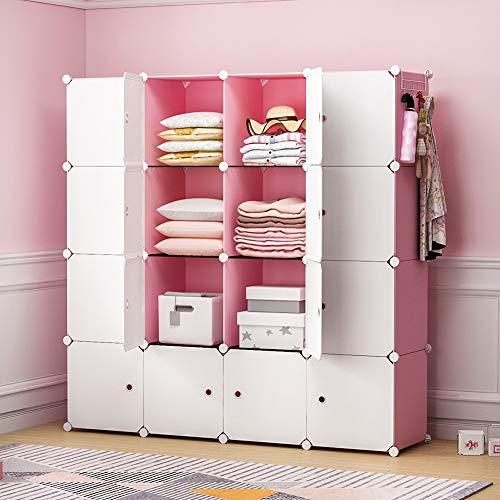 YOZO Portable Closet Wardrobe Cube Storage Organizer Cube Shelving Chest of Drawer Unit Multifunction Toy Cabinet Bookshelf DIY Furniture, Pink, 16 Cubes