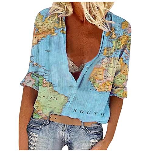 YANFANG Camisa con Botones De Solapa para Mujer, Estampado Mapa del Mundo, Manga Larga, Camiseta Informal Holgada,Bluas Mujer Blusa Elegante Suelta Casual Verano Shirts,Azul,XL