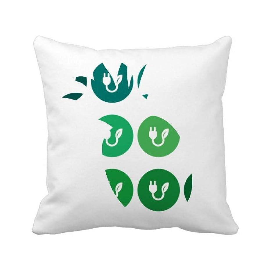 力強い対角線足音緑の葉のパターンの充電プラグケーブル パイナップル枕カバー正方形を投げる 50cm x 50cm