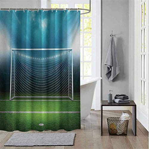Couple Bathroom Shower Curtain SoccerSoccer Goal Post Sports Area Winner Loser Line Floodlit Best Team Finals Game Theme Shower Curtain for Camper Green Blue W72 x L72 Inch