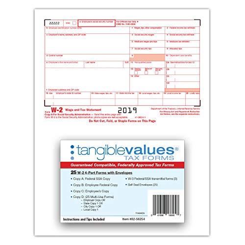 W-2 Tax Forms 2019 - Tangible Values 4-Part Laser Tax Form Kit with Envelopes - Accounting & QuickBooks Software Compatible, 25 Pack Photo #4