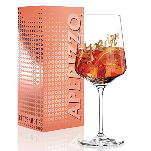 RITZENHOFF Aperizzo Aperitifglas von Claus Dorsch, aus Kristallglas, 600 ml, mit edlen Goldanteilen