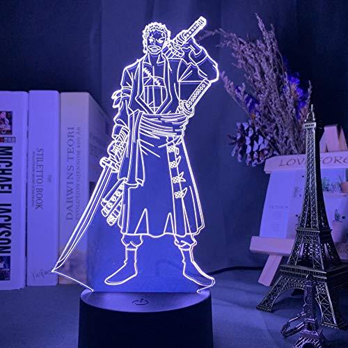 Luz de noche 3D Roronoa Zoro Figura Led para decoración de dormitorio de niños Anime japonés Mesa de noche de una pieza-7_Color_No_Remote