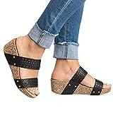 Gibobby Sandals for Women Wide Width Women's Ankle Strap Open Toe Summer Cork Flatform Sandal Black