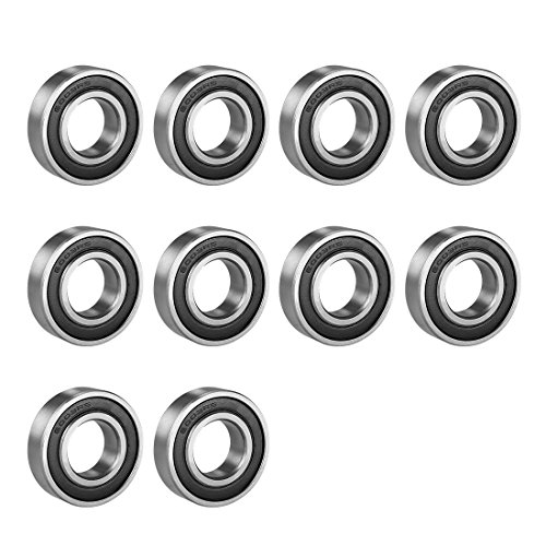 uxcell 6003RS Deep Groove Ball Bearing Single Sealed 160103, 17mm x 35mm x 10mm Chrome Steel Bearings (Pack of 10)