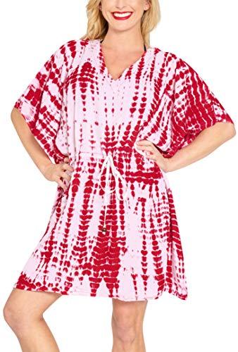 LA LEELA Mujer Kaftan Rayón Túnico Tie Dye Kimono Estilo Más tamaño Vestido para Loungewear Vacaciones Ropa de Dormir & Cada día Cubrir para Arriba Tops Camisolas Playa Blood Rojo_B825