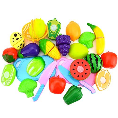 Ruikey Lot de 18 Jouets de Cuisine Enfants,Jeu de Cuisine Legumes Fruits Jeu d'imitation pour Garçons et Filles