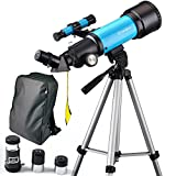 Telescopio Moutec para niños 70 mm Apeture Travel Scope 400 mm AZ Mount - con alcance para trípodes y buscadores