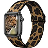 Ouwegaga Adjustable Elastic Bands Compatible for Apple Watch Band 40mm 38mm iWatch SE and Series 6 5 4 3 2 1 Fashion Cute Soft Stretchy Loop Woven Fabric Wristband for Women Men Leopard Pattern