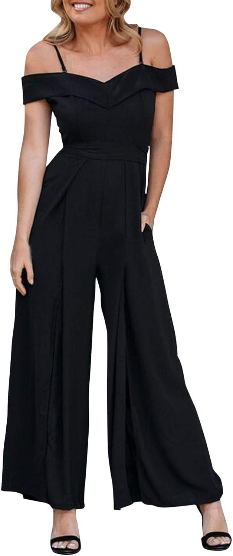 BerryGo Women's Elegant V Neck Wide Leg Split Jumpsuit with Pocket Backless Long Romper