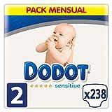Dodot Sensitive Pañales para Bebé, Talla 2 (4 a 8 kg), 238 Pañales