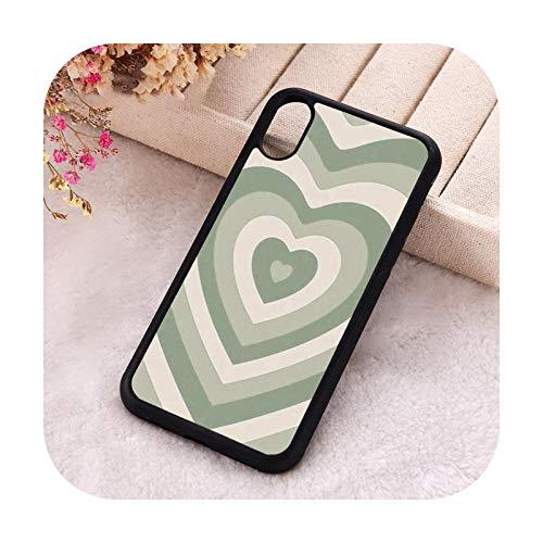 Phone Cover Carcasa para iPhone 6, 6S, 7, 8 Plus, X, XS, XR 11, 12, Mini Pro Max 5, 5S, SE 2020, goma de silicona, color verde salvia, con corazón para iPhone 5S