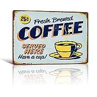 「淹れたてのコーヒー」レトロアートポスターヴィンテージメタルティンサインプレートコーヒーカフェ装飾プレートメタルウォールプラーク20 * 30cm 30x30cm
