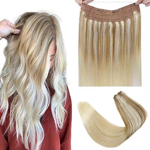 Halo Couture Hair Extensions Remy Straight Halo Human Hair with 2 Clips on Hair No Slip Blonde Halo Extensions Silky Soft Hair Ombre Highlight Platinum Blonde 80g/16'/11in Width