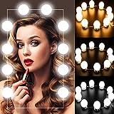 Luces de Espejo Maquillaje - Kit de 10 Bombillas LED Luz de Espejo de Tocador Estilo Hollywood Lámparas para Espejo del Baño Bombillas de Armario con 5 Tipos de Brillo Ajustables y USB Alimentado y...