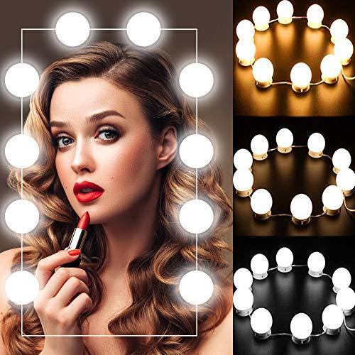 Luces de Espejo Maquillaje - Kit de 10 Bombillas LED Luz de Espejo de Tocador Estilo Hollywood Lámparas para Espejo del Baño Bombillas de Armario con 5 Tipos de Brillo Ajustables y USB Alimentado y USB Alimentado