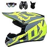 ESASAM Fox - Casco de motocross con gafas (4 unidades), carcasa de ABS, norma de seguridad ECE 22.05 (amarillo, M)