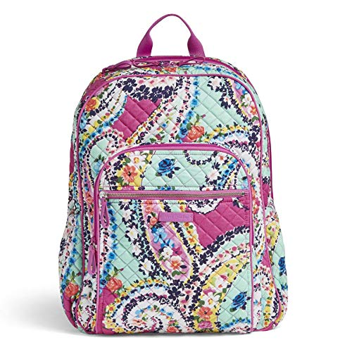 Vera Bradley Women's Signature Cotton Campus Backpack, Wildflower Paisley, One Size