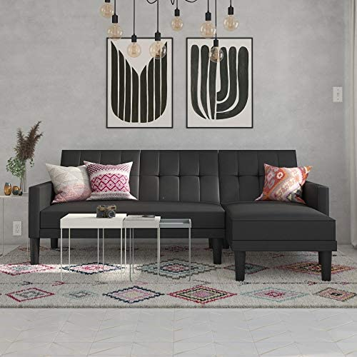 Best DHP Haven Small Space Sectional Futon Sofa, Black Faux Leather