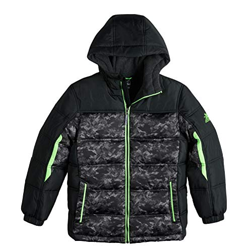 ZeroXposur Boys Puffer Jacket, Lightweight Quilted Boys Jacket (Black Camo/Green, Medium 10/12)