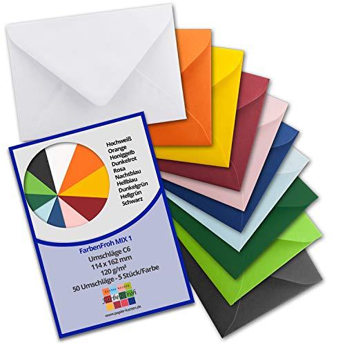50 Brief-Umschläge - Farbenmix-Paket 1 - DIN C6-114 x 162 mm - Kuverts mit Nassklebung ohne Fenster für Gruß-Karten & Einladungen - Serie FarbenFroh®