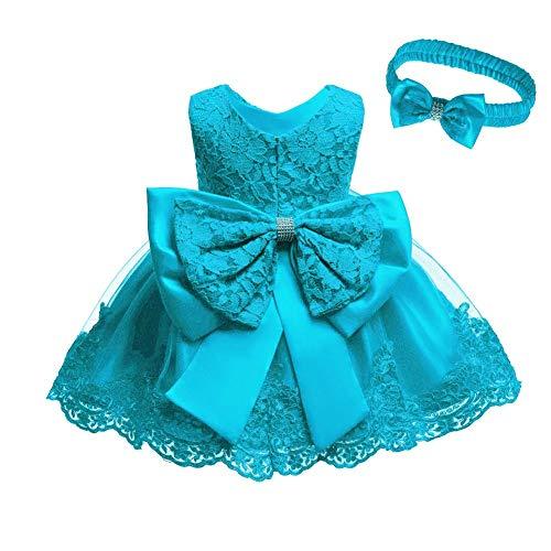 IWEMEK Vestido de encaje para bebé niña, con lazo, para dama de honor, de boda, con tutú, de princesa, para cumpleaños, fiesta, bautizo, azul celeste, 6-9 Meses