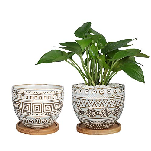 G EPGardening 5.5in Geometry Ceramic Planter Large Round Succulent Planter Flower Pot...