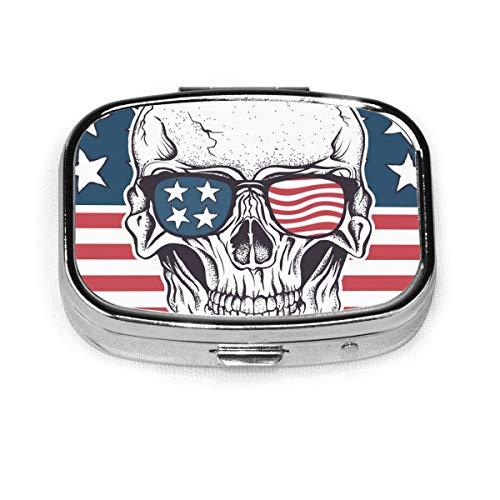 JOJOSHOP - Pastillero cuadrado, diseño de calavera en gafas de sol en la bandera de Estados Unidos