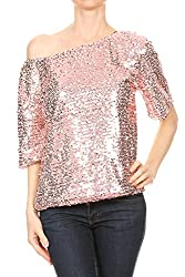 Pink Short Sleeve One Shoulder Sequin Top Blouse