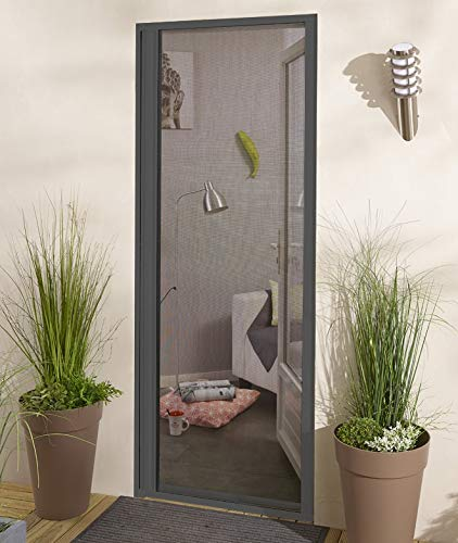 Madecostore - Mosquitera enrollable lateral (aluminio, 160 x 220 cm), color gris antracita