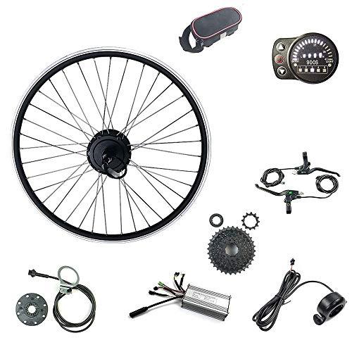 Schuck Kit de conversión de Bicicleta eléctrica Rueda de 24 Pulgadas con Pantalla LED900S Pantalla de 36V 500W Rueda Trasera E-Bike Caja Motor Radios y Llantas