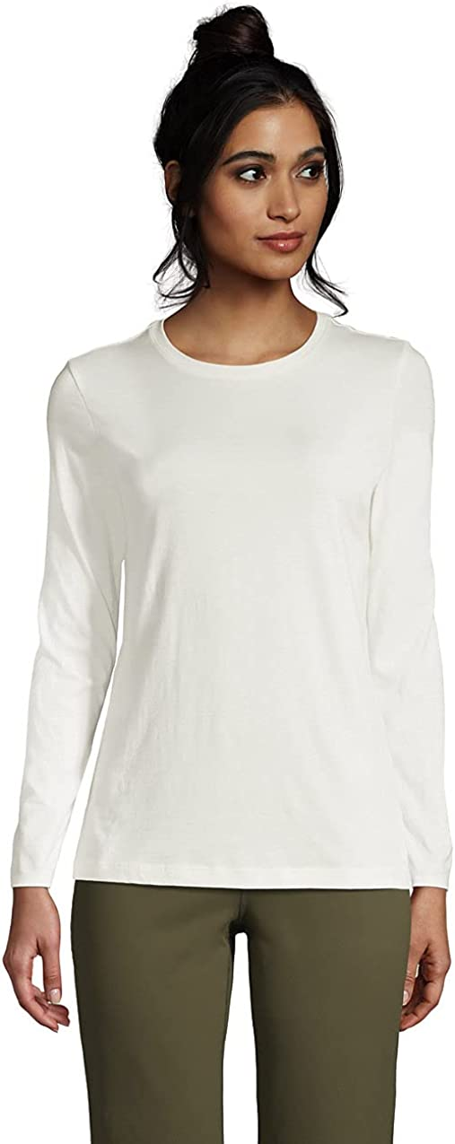 Lands' End Women's Relaxed Supima Crewneck Sleeve Kansas City Tampa Mall Mall T- Cotton Long