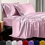 Satin Sheets King Size (4 Pieces, 5 Colors), Silky Satin Sheet Set -Satin Bed Set with 2 Pillowcase, Satin Fitted Sheet - Pink Satin Sheets, King Size Satin Sheets, Satin Bed Sheets King