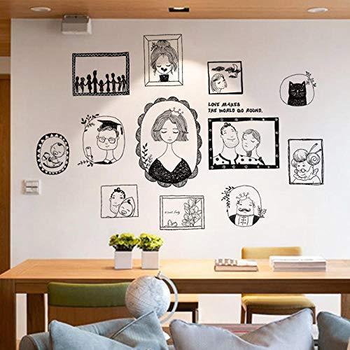 Einfache Wohnzimmer handbemalte literarische Figuren Foto Wand Fotorahmen Aufkleber warm Schlafzimmer Sofa Hintergrund selbstklebende Wandaufkleber