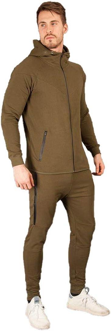 Fabrica Fashion Mens Full Zip Tech Fleece Tracksuit Hooded Comfort Jacket Jumper Set
