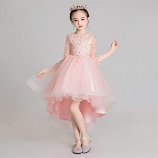 Luxury Former Princess Dress Girl Pompon Yarn Beaded Bouquet of Pink Flesh Paragraph Long and Short Dresses Flower Girl Little Girl Show Host Costumes Western Style Piano ryq